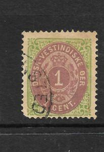 DANISH WEST INDIES  1873-02  1c  BROWN LAKE/YELLOW GREEN   FU  SG 11