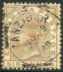 Zanzibar SGZ60 6a Pale Brown Z5 Squared Circle dated 3rd Nov 1888