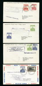 Belgian Congo Stamps Lot of 4 1941 First Flight Covers