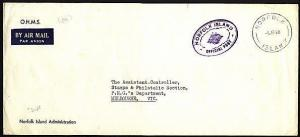 NORFOLK IS 1968 Official mail cover to Australia...........................97411