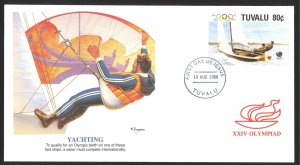 Tuvalu Sc# 505 FDC Fleetwood Cachet 1988 Yachting