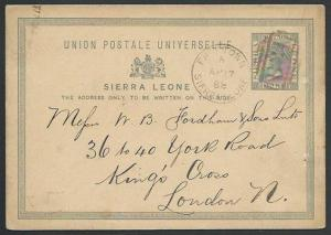 SIERRA LEONE 1888 QV 1½d postcard used, B31 cancel in red, to UK...........57009