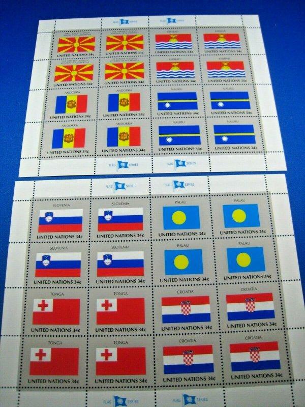 UN NEW YORK - SCOTT #795-802 - 2001 FLAGS SERIES - 2 FULL PANES OF 16    MNH