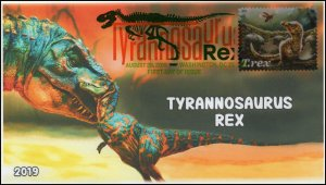 19-187, 2019, Tyrannosaurus Rex, Digital Color Postmark, First Day Cover, T-rex
