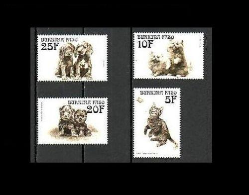 Burkina Faso - Animals Dogs Demestic Cats Pet Mammals Butterflies Stamps MNH