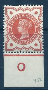 ½d Vermilion Jubilee control O imperf single MOUNTED MINT