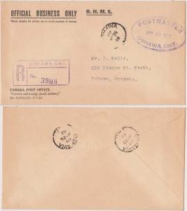 Canada Registered O.H.M.S. Post O. Cover. Oval Violet HS Postmaster - Est. $20.