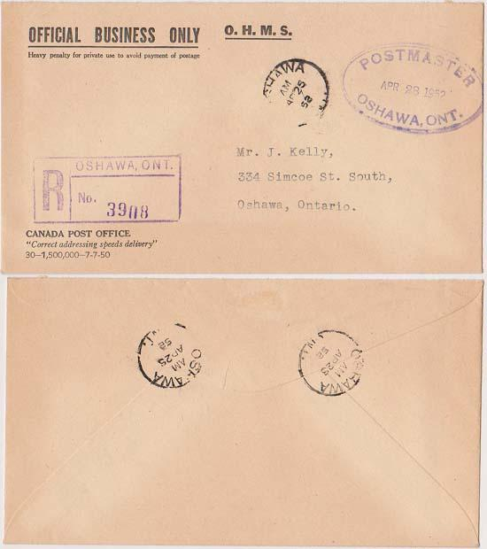 Canada Registered O.H.M.S. Post O. Cover. Oval Violet HS Postmaster - Est. $20.