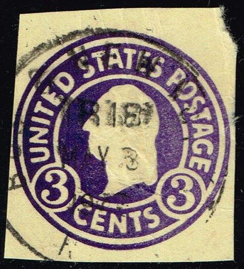 US #U437 George Washington; Used Cut Square (0.25)