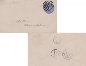 Indian States Travancore 1ch Conch Shell Envelope c1895 to Kunnamkulam.