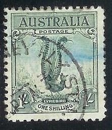 Australia 141 1sh Green Male Lyre Bird used