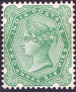 INDIA 1897 QV 2 Anna 6 Pie Pale Blue-Green SG104 MH