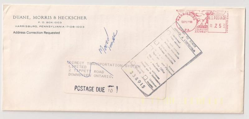 Harrisburg PA Sep.27.88 meter stamp cover to Canada returned