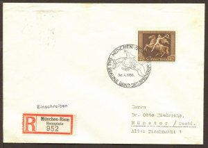Germany Mi 747 EF Registered Cover Correct Rate Brown Band Horse Race CV ~$55