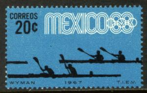 MEXICO 981, 20¢ Canoeing 3rd Pre-Olympic Set 1967, SINGLE, MINT, NH. VF.