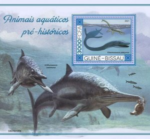 2021/03- GUINEA BISSAU - PREHISTORIC WATER ANIMALS I      1V    MNH **