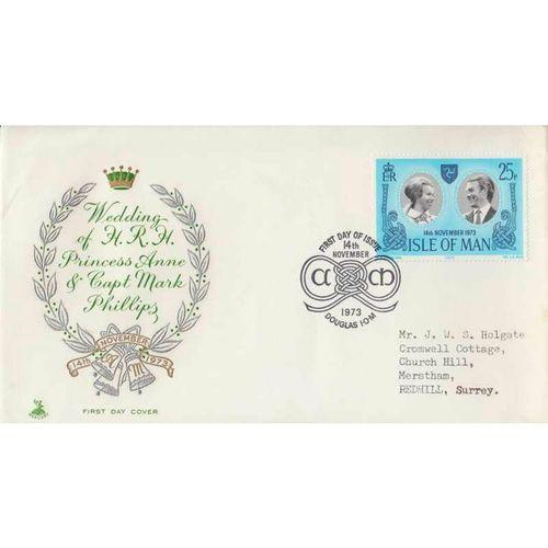 First Day Cover 14th November 1973 Wedding of H.R.H. Princess Anne - Isle of Man