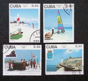 CUBA  Sc# 3335-3338  TOURISM beaches fauna history CPL SET of 4  1991  used /cto