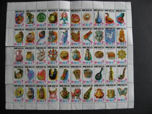 MEXICO 1975-6 MNH TB full sheet of 50, is folded, some perfs separated