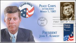 17-053, 2017, John F Kennedy, President, 100 years, FDC, Peace Corps