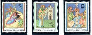 Cyprus Sc 788-90 1991 Christmas stamp set mint NH