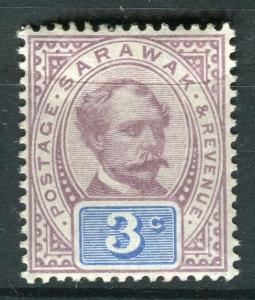 SARAWAK; 1888 early C. Brooke issue fine Mint hinged 3c. value