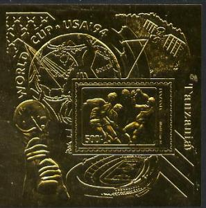 Tanzania 1994 Football World Cup m/sheet embossed in gold...