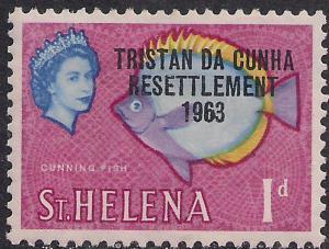 Tristan Da Cunha 1963 QE2 1d Cunning Fish Ovpt Resettlement MM SG 55 ( H1359 )