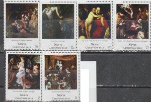 Nevis 2012 art paintings christmas  Correggio set MNH