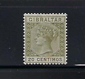 GIBRALTAR SCOTT #31 1889-95 10 CENTIMOS (OLIVE GREEN)   MINT HINGED