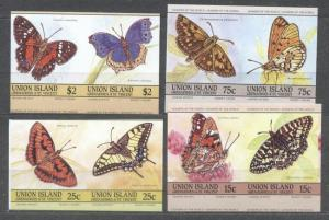 Union Island 1985 Butterflies, 4 pairs, imperf., MNH S.536