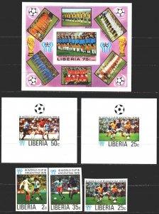 Liberia. 1968. 1061B-66B, bl90B + 6 suites. Football. MNH.