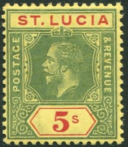 ST LUCIA-1912-21 5/- Green & Red/Pale Yellow Sg 88 MOUNTED MINT V33914