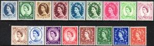 1952 - 54 GB Great Britain QE MNH set (17) Wmk 298 Sc# 292 / 308 CV $101.05