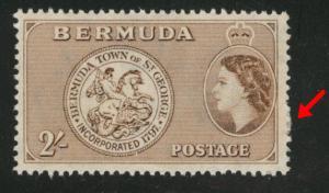 BERMUDA Scott 158 MH* 2sh yellow brown from 1953-58 set Adhesion