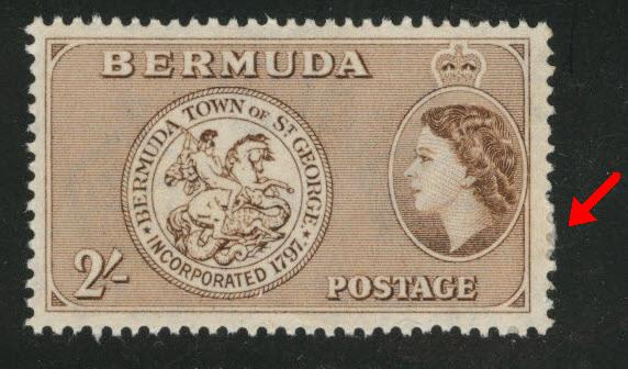 BERMUDA Scott 158 MH* 2sh yellow brown from 1953-58 set Adhesion