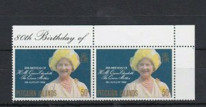 PN149) Pitcairn Islands 1980 80th Birthday of Queen Mother MUH pair