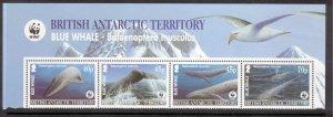BRITISH ANTARCTIC 2003 Blue Whales/ WWF; Scott 326-29, SG 361a; MNH