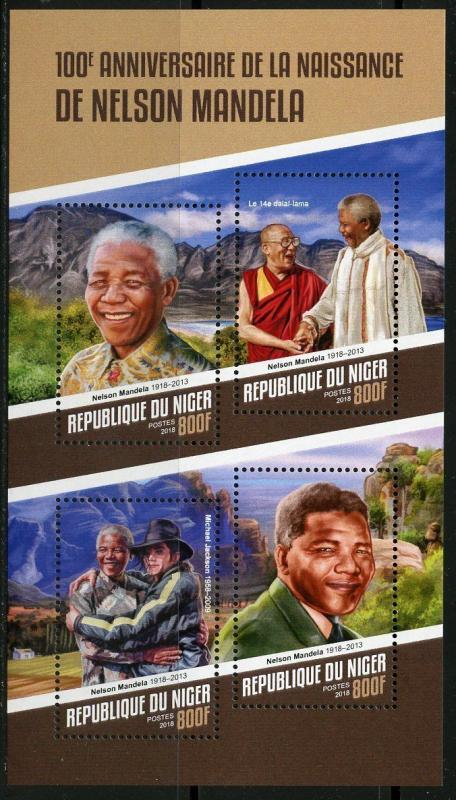 NIGER 2018 100th BIRTH ANNIVERSARY OF NELSON  MANDELA  SHEET  MINT NH