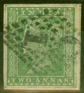 India 1854 2a Green SG31b Wmk Type 10a 4 Good Margins Fine Used Scarce