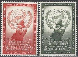 United Nations New York  29-30  MNH  Human Rights