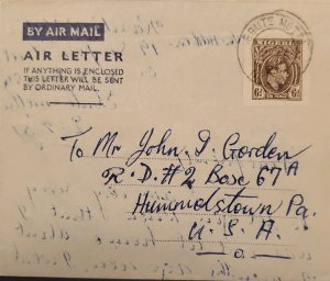 O) 1938 NIGERIA, KING  GEORGE VI - SCT 60 6p, AIR LETTER, ORDINARY MAIL  TO USA