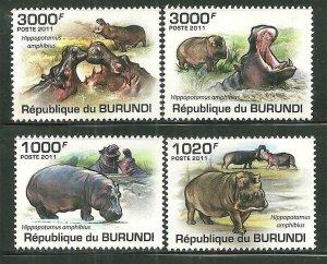 Burundi MNH 822-5 Hippopotamus 2011 SCV 13.50
