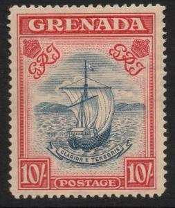 GRENADA SG163a 1938 10/= STEEL BLUE & BRIGHT CARMINE p14 MTD MINT
