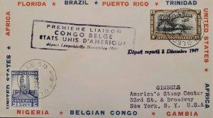 O) 1941 BELGIAN CONGO, AIR POST STAMP - KRAAL, KING ALBERT MEMORIAL LEOPOLDVILLE