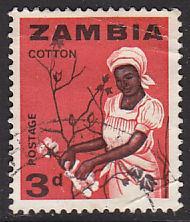Zambia 7 Hinged Used 1964 Woman Picking Cotton