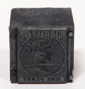 GIBRALTAR #2 Queen Victoria Scott Catalog Metal Die Stamp Postage Album Cliche