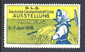 Germany Cinderella Agriculture Exposition Hamburg 1910 Farm Girl w/ Hay & Rake
