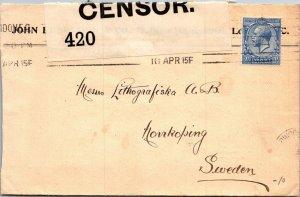 Bersten London > Lithografiska Norrkoping Sweden 1915 censored fab handwriting