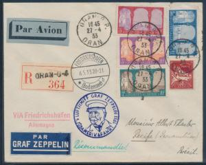 SI #202 ALGERIA DESPATCH ZEPPELIN FLIGHT COVER APRIL 1933 EXT RARE HW4509